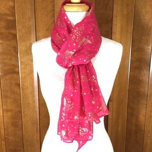 Accessories - Hot Pink & Gold Butterfly Wrap Scarf